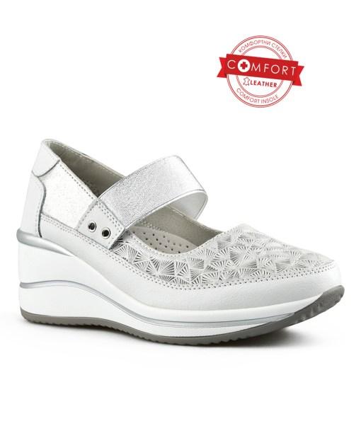 Дамски обувки естествена кожа 08-178-5 цвят бял Спортни, дамски обувки от естествена кожа с връзки. Комбинация от ефектна и гладка кожа и широка ластична каишка. Подметката е удобна, повдигната към петата бяла. Стелката също е от естествена кожа и е анатомична. Дебелина на подметката 2см, дебелина на платформата 6 см. Изработени са изцяло от естествена, висококачествена кожа.