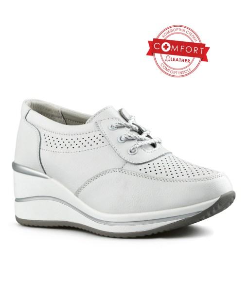 Дамски обувки естествена кожа 08-178-4 цвят бял