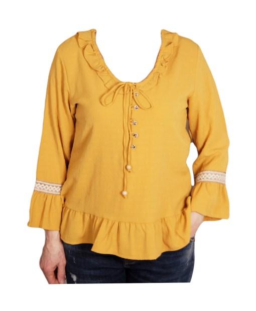Дамска блуза 00-575-6 цвят горчица