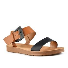 Дамски сандали 21-100-1 кафяво с черно