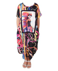 Дамска рокля XL 18-185-3 с апликация красиво момиче