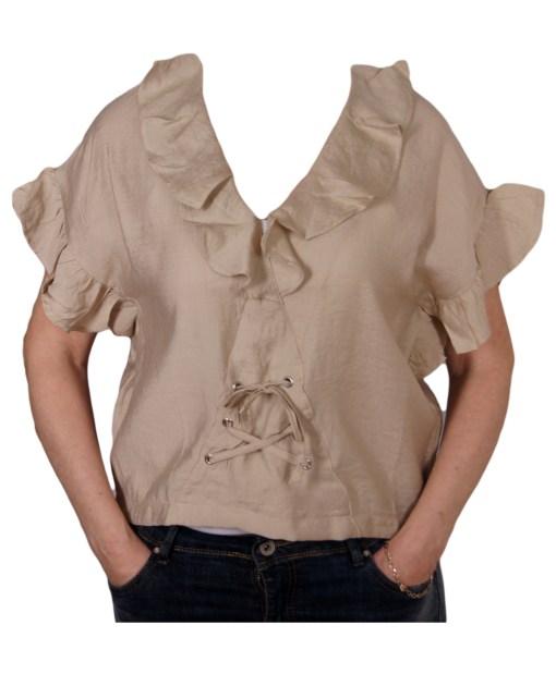 Дамска блуза 0019-562-90 цвят бежов