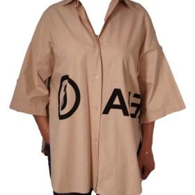 Дамска блуза XL 21-096-1 цвят бежов