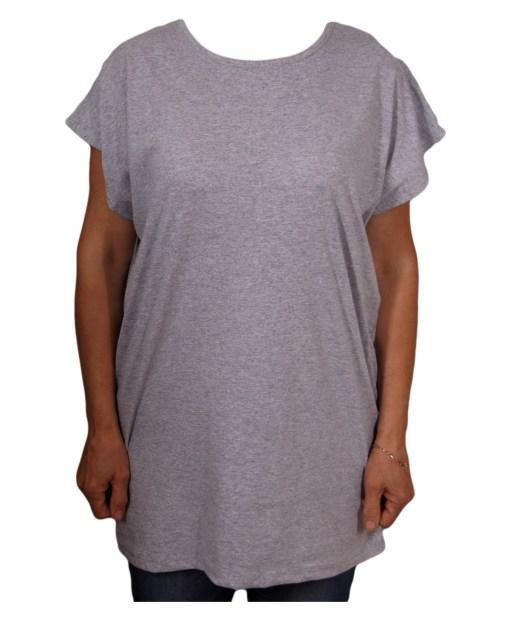 Дамска макси блуза XL 21-095-6 цвят сив