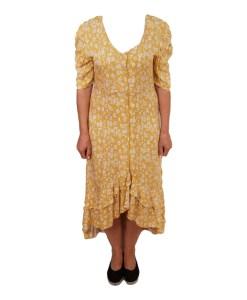 Дамска рокля 017-191-9 цвят жълт