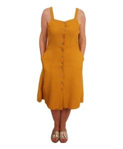 Дамска рокля 017-191-7 цвят горчица