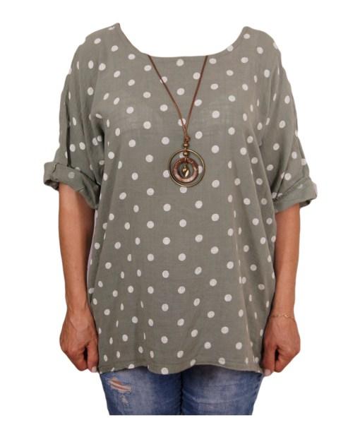 Дамска макси блуза XL 21-093-6 цвят зелен