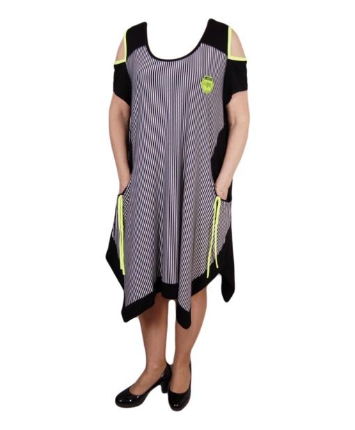 Дамска рокля XL 18-184-1 цвят черен