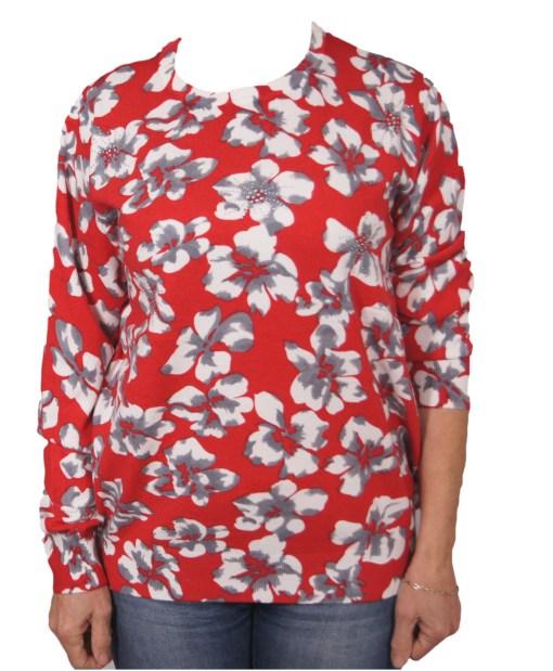 Дамска блуза XL 01-097-52 цвят червен