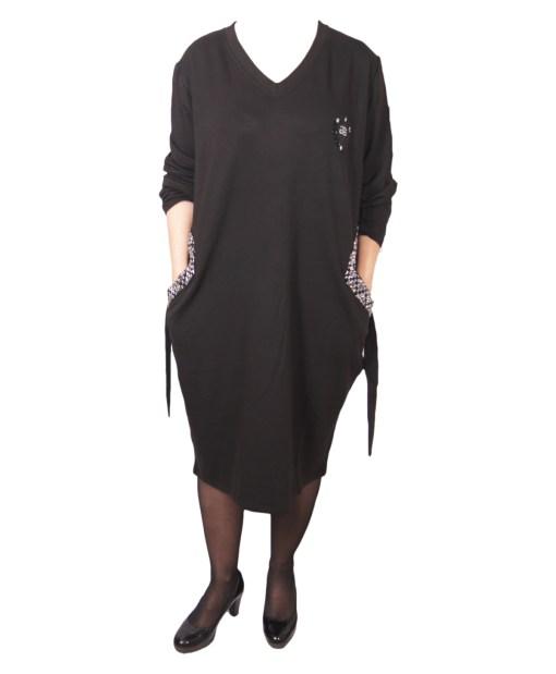 Дамска рокля XL 18-189-6 цвят черен
