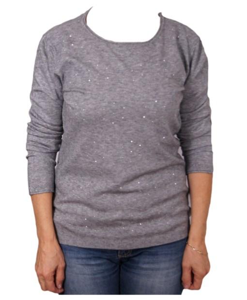 Дамски пуловер 2-386-13 цвят сив