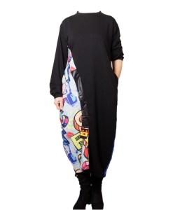 Дамска рокля 017-190 цвят черен