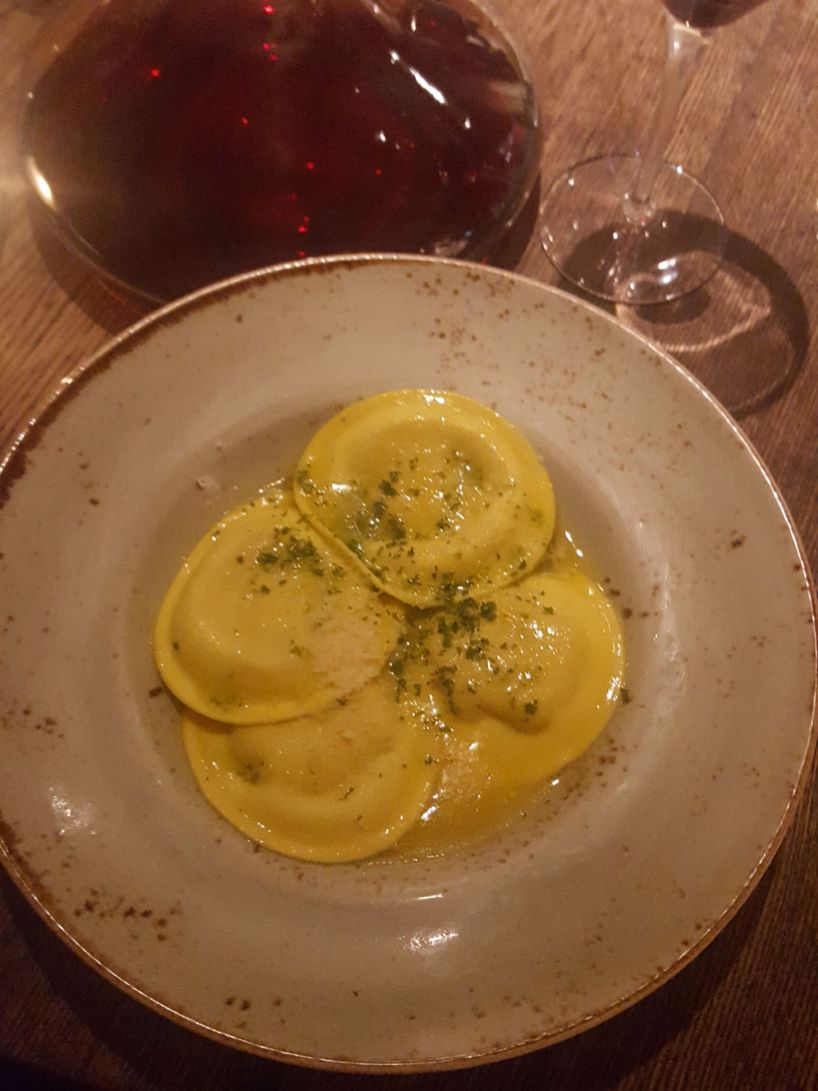 Butternut squash ravioli at Huxleys