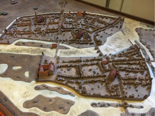 Model of Colln (southern part of today's Museum Island and Berlin (over the Spree) around 1400