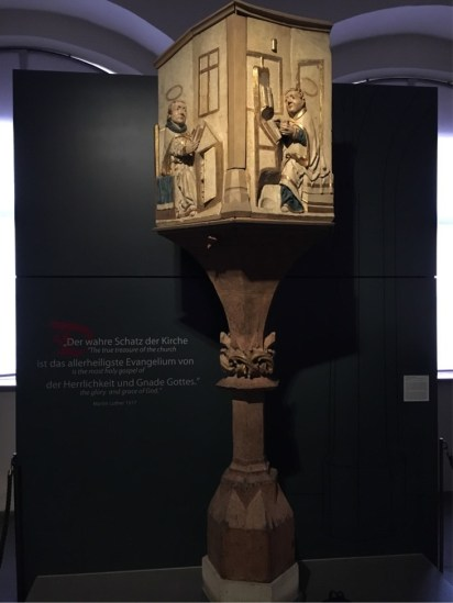 Luther's pulpit recovered from the Stadtkirche attic in the 1870's