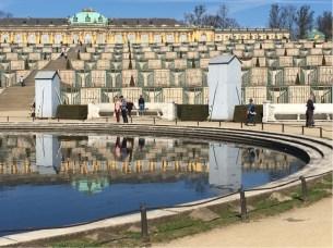 Sanssouci Schloss over the ornamental pond.