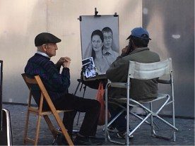 Plaza Mayor - with the usual portrait artists