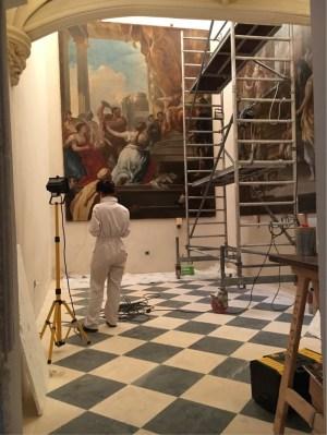Frescoe restoration underway
