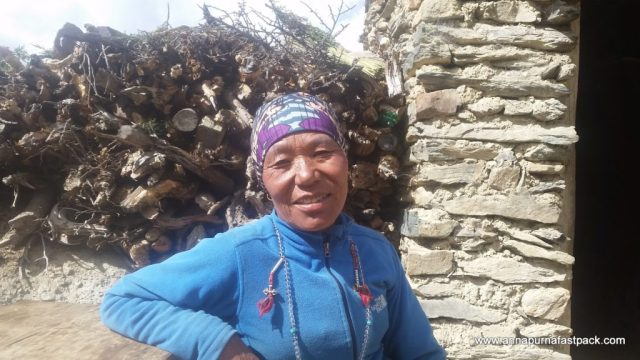 We buy Raksi (local moonshine) from this lady every year - above Manang