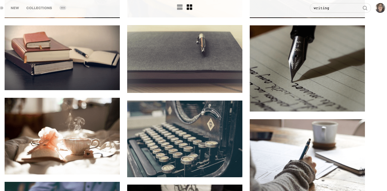 Unsplash writer search