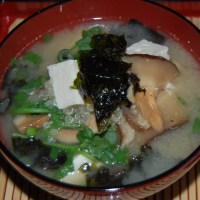 Miso Soup with Quinoa, Tofu, Shiitake Mushrooms and Watercress