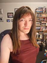 Anna Secret Poet, brown hair burgandy top