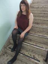 Anna Secret Poet Denim Skirt on Stairs 2
