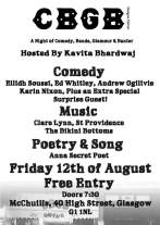 Poster for a McChuills gig Aug 2016