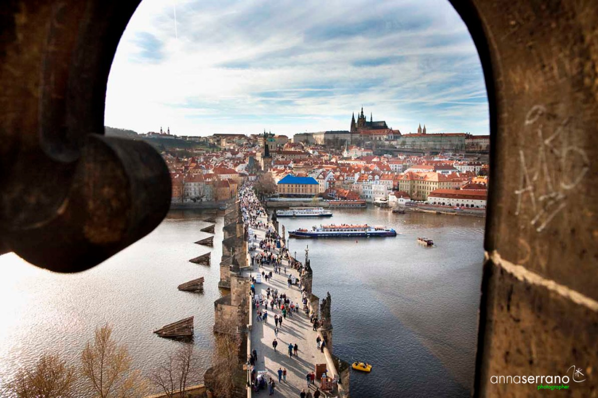 Czech Republic, Prague, Charle's Bridge and Prague's Dome