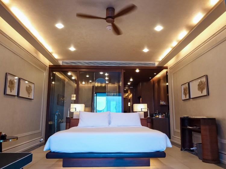 beachfront suite bed at baba beach club hua hin