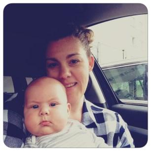 mom + baby in car