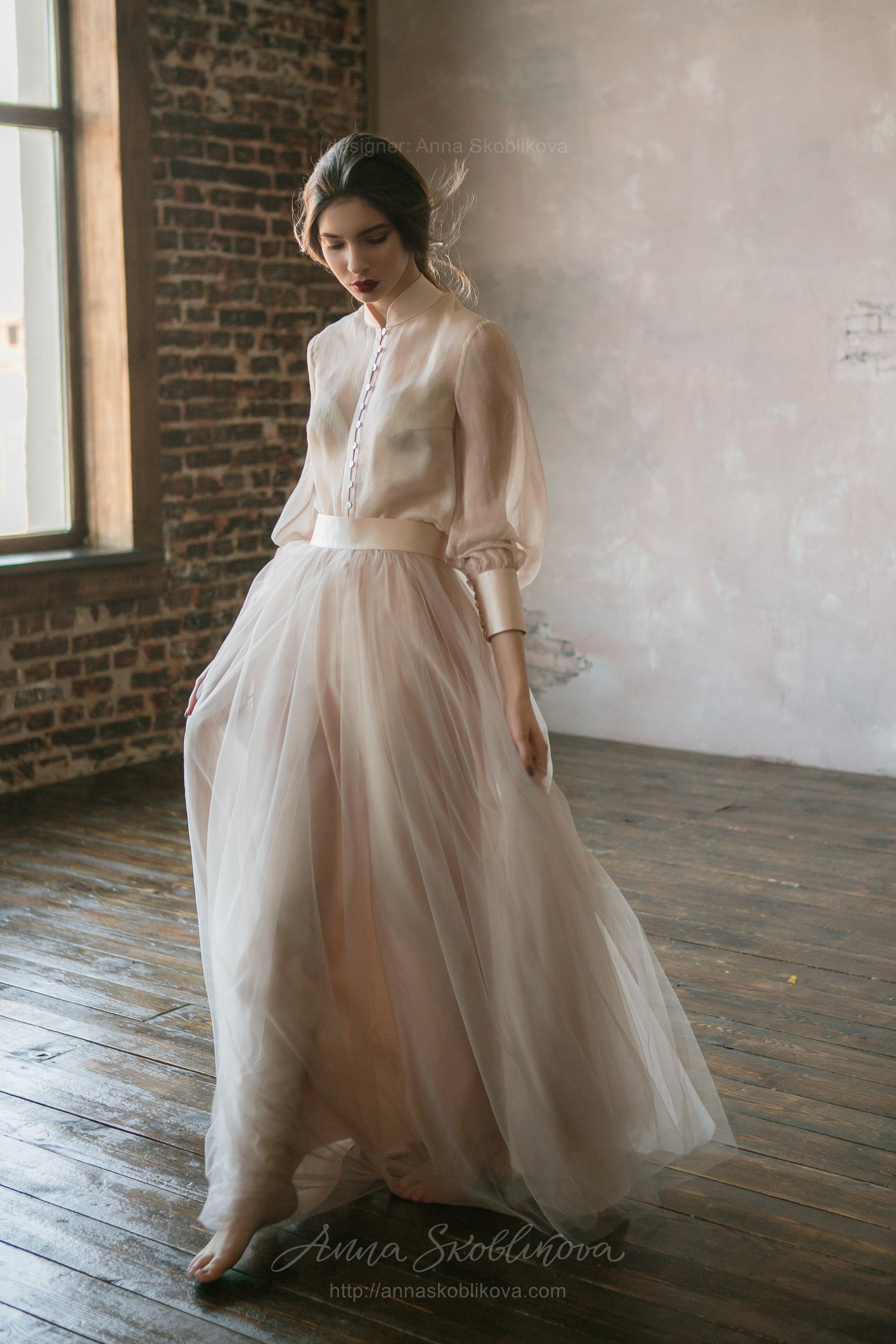 Beige Two Piece Wedding Dress In Vintage Style