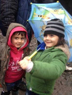 Two Iraqi children at the Dunkirk camp