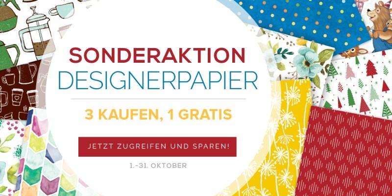 Sonderaktion Designerpapier von Stampin Up. 3 Kaufen, 1 Gratis