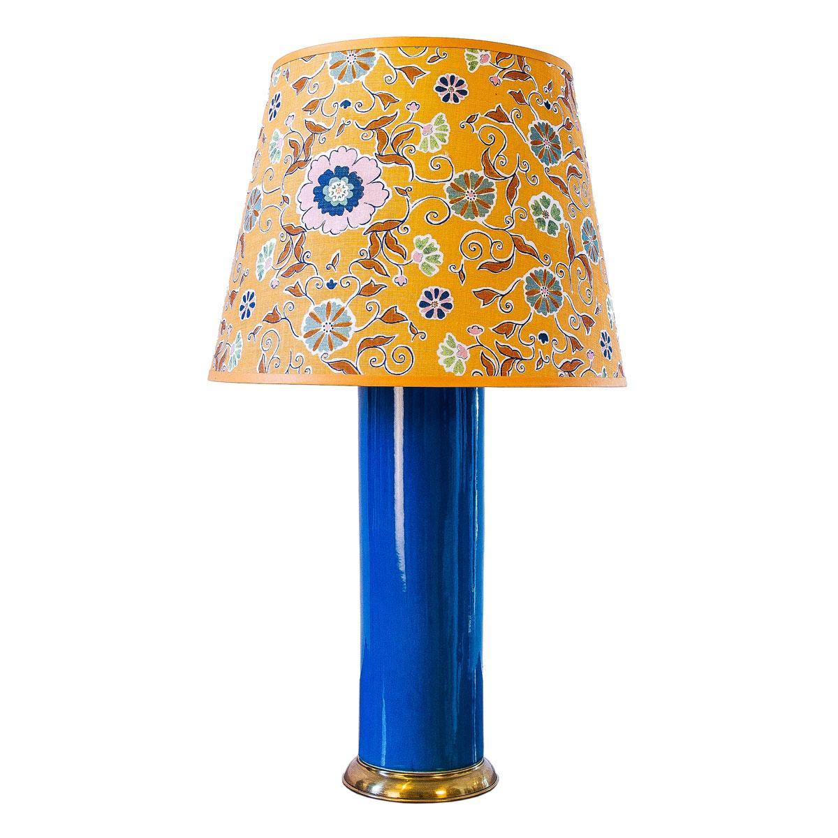 Tall Blue Ceramic Lamp & Shade