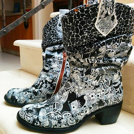 מגפיים דקופאצ' שחור לבן