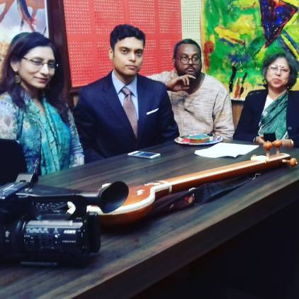 CIRCE The Black Cut Dec 21, 2016 | Interactive Welcoming in a Live -online- Consonance of India and Greece | Artists in India [Kolkata | Studio Conference Room of ATN Bangla (satellite television channel) | left to right: Somali Panda (Voice /Recitation), Kushal Poddar (Poetry), Tamal Krisna (Live Painting), Coordinated by eminent Art Critic Ratnottoma Sengupta