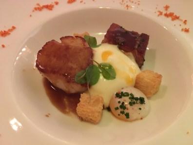 Scallop, Crayfish, Pork Belly, Onsen Quail Egg, Potato Espuma, Bisque, Jus Gras
