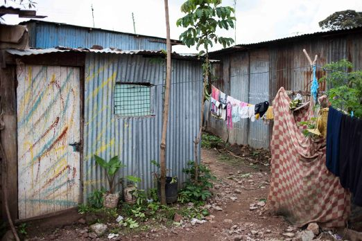 The doors and windows were painted with colourful splashes of paint by Elizabeth's youngest son Felix (16); the checked blanket on the right hides the shower, in truth no more than a bowl of heated water, some soap and a towel.