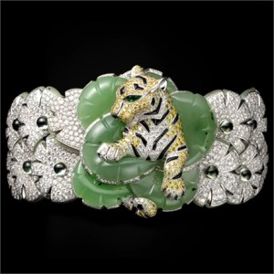 Bracelet with diamonds and jade with a tiger by Dior