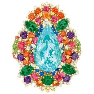 Multicolor Ring with sapphire, tangerine, purple and green by Dior