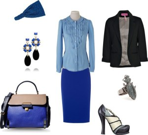 How to: camicia azzurra, blu e nero by annaturcato featuring a blue skirt