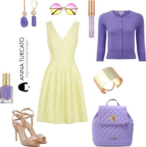 Anna-Turcato-Yellow-Dress-Purple-Look