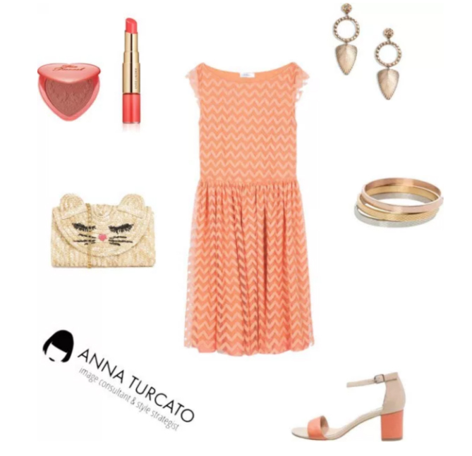 Coral dress by annaturcato featuring a cream purse
