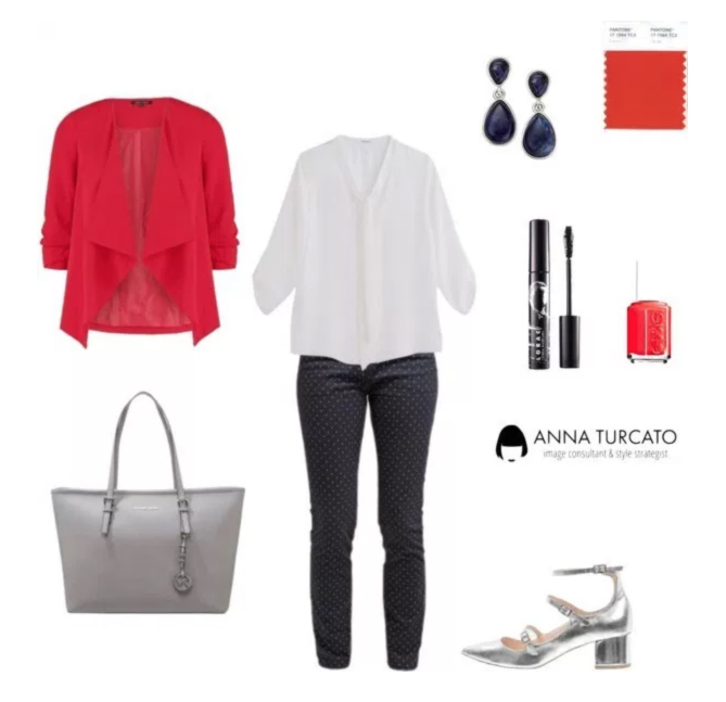 Office look by annaturcato featuring a red jacket