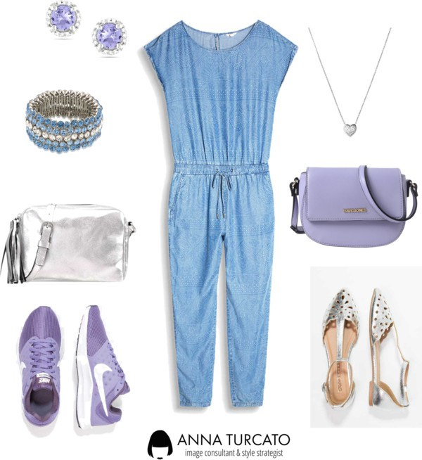 The jeans jumpsuit di annaturcato contenente blue handbags