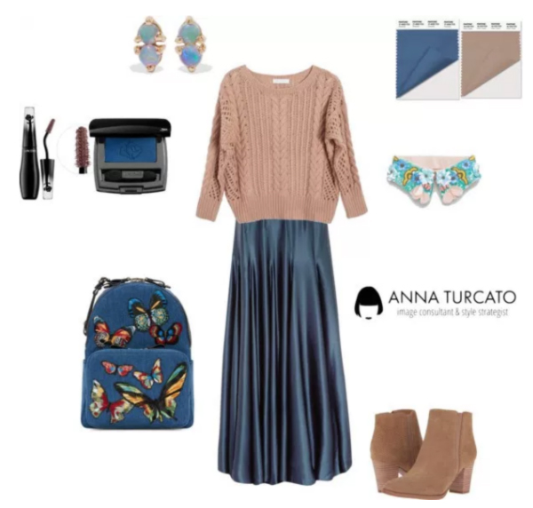Riverside and Warm Taupe by annaturcato featuring a navy blue skirt