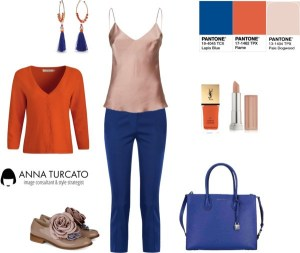 Lapis Blue, Flame, Pale Dogwood by annaturcato featuring a pink camisole