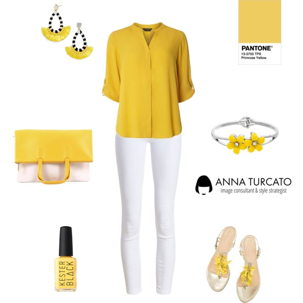 Primrose Yellow by annaturcato featuring a shirt top