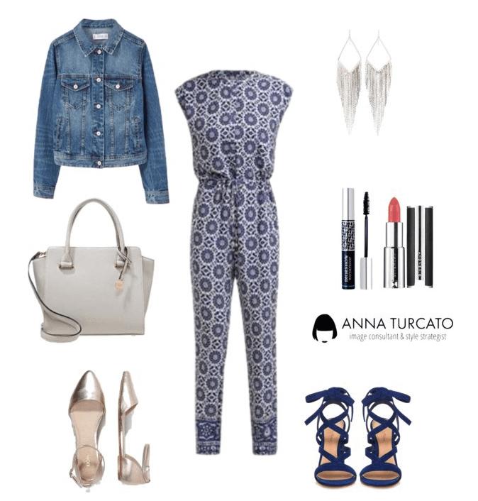 Glam look di annaturcato contenente blue jeans